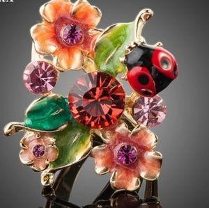 🆕️Ladybug on flower ring